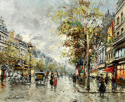 Canvas HD Print Oil painting Paris Street carriage scene printed on canvas L1081