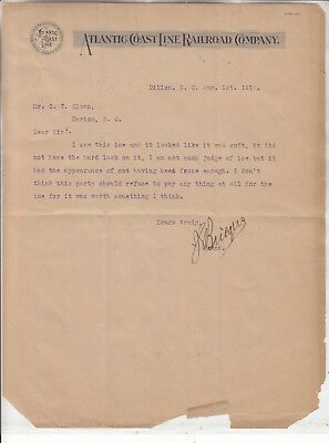 ATLANTIC COASTLINE RAILROAD COMPANY DILLON SC.  LETTERHEAD DATED  AUG. 1st, 1914