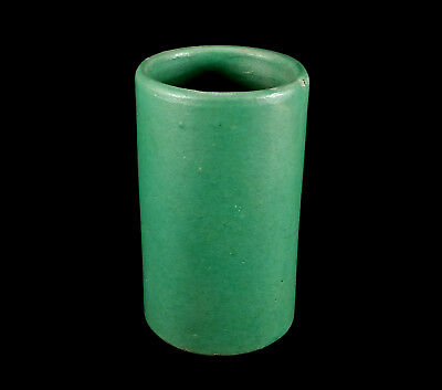 Antique Early Bauer California Art Pottery Matte Green Red Clay Rose Jar Vase