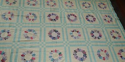Vintage Feedsack Quilt Top mint green yellow Flowers # 2