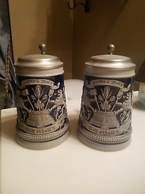 GERZIT West German Lidded Beer Steins Matching Pair