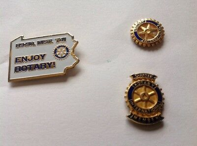 3 Vtg Rotary International Club Member Lapel Pins Tie Tacs Hat Pin #7