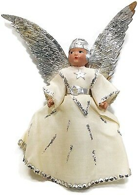 "Vintage NOMA 1920's Tree Top Composition Flapper Angel 9"" with Foil Wings"