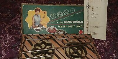 Vintage Cast Iron Metal Griswold Patty Molds Rosette Irons#1412 Boxed Set of 2