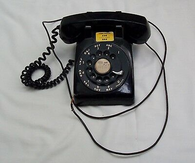 Vintage Rotary Dial Desk Phone One Owner Long Cord Heavy Duty Black