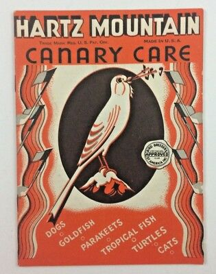 Vintage Hartz Mountain Canary Care Pet Dogs Goldfish Cats Turtles Parakeets Book
