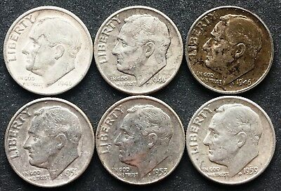Lot of 6x USA 90% Silver Roosevelt 10 Cent Dimes - Dates: 1946 to 1959