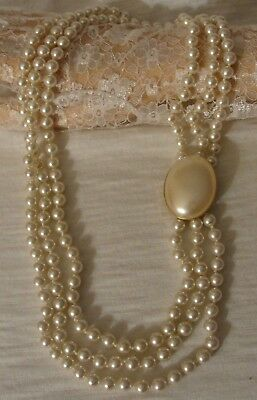 "Vintage Three Strand Faux Pearl Beaded Statement Necklace 22"" By 1"""