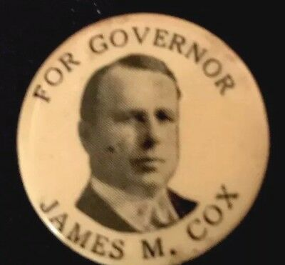 Political PinBack JIM COX Button OH Governor Campaign Pin Roosevelt 1920 Hopeful