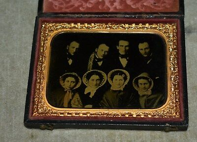 Very Rare Lg. Ambrotype Masterpiece - Four Couples W/case