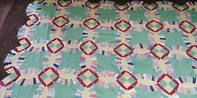 Vintage Feedsack Quilt Top Green and Yellow Rings #6