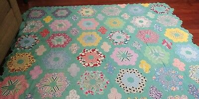 Vintage Feedsack Quilt Top Grannys Glorious Flower Garden #7