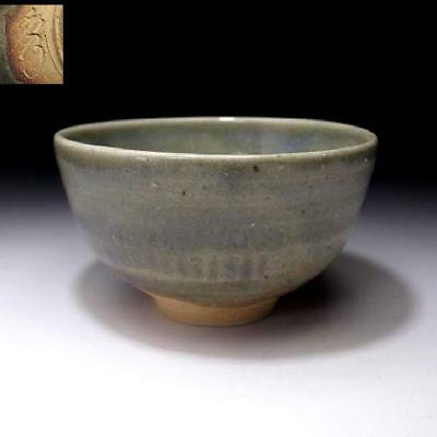 VN7: Vintage Japanese Pottery Tea bowl of Seto ware, Light green glaze