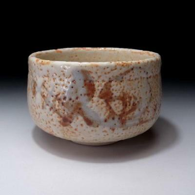 TH4: Vintage Japanese Pottery Tea bowl, Shino ware, White glaze