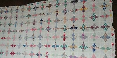 Vintage Feedsack Quilt Top Circles and Stars # 8