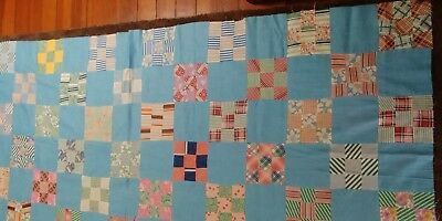 Vintage Feedsack Quilt Top Beautiful Blue 9 Patch # 9