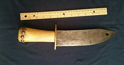 19th Century Bowie Knife, Native American, Bone Handle