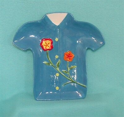 Hawaiian Shirt Serving Plate in Blue - NEW - Great for Display!