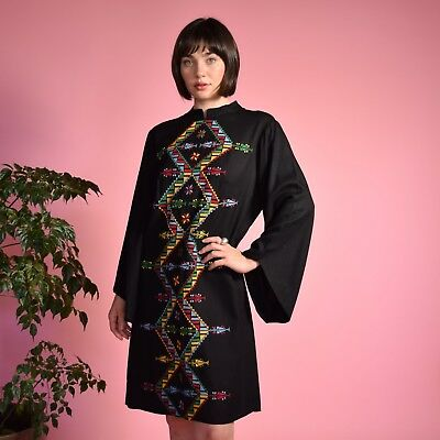 Vtg 60s black woven HAND EMBROIDERED Hungarian BELL SLEEVE mini peasant dress M