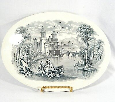 Antique Porcelain STRAINER Mazarin for Drain Platter Scenic Black & White China
