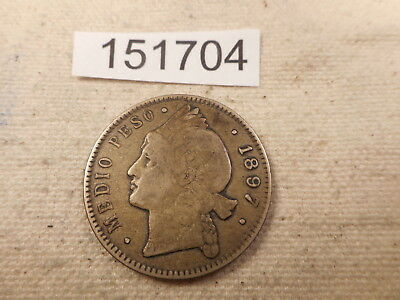 1897 A Dominican Republic 1/2 Peso Nice Collectible Album Coin - # 151704 Raw