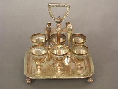 FINE ANTIQUE SILVER PLATED 6 EGG CUP CRUET STAND by WALKER & HALL 1880 coddler