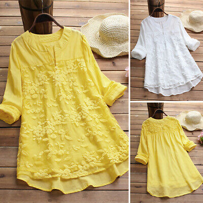 ZANZEA 8-24 Women Long Sleeve Floral Embroidered Top Tee T Shirt Tunic Blouse