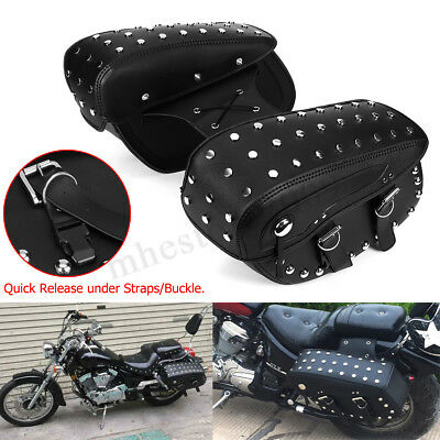 1 Pair Motorcycle Saddlebags Side Bag Black PU For Harley Sportster 1200XL 883