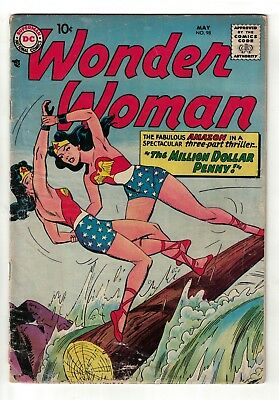 DC COMICS Wonder Woman 98 vg- 3.5 1958 App & New ORIGIN justice league superman