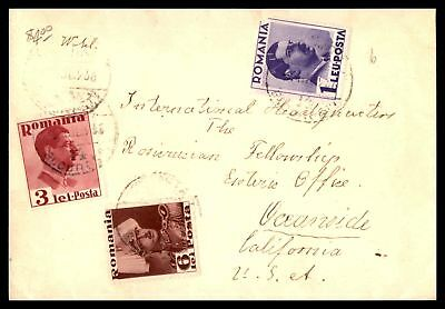 Romania Combination Of Issues 1936 Commercial Cover To Oceanside Ca Usa