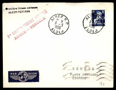Alger First Flight May 3 1956 Air Mail Cover To Tebessa Constantine With Back St