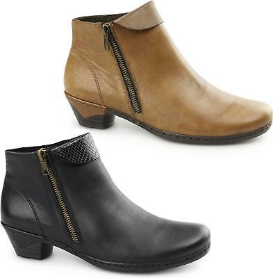 Rieker Black Leather Flat Ankle Boots 58374 00 Fleece Smart