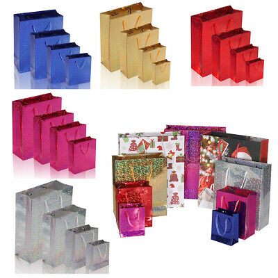 48260fe130 6 Pieces Shiny Paper Carrier Present Gift Bags Christmas Wedding Birthday 4  Size