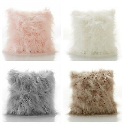 Luxury Chic Mohair Mongolian Long Pile Faux Fur Fluffy Filled Cushion / Cover