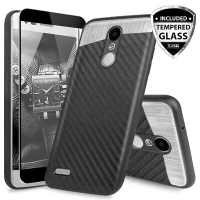 For LG Rebel Phoenix 4/3/Aristo 2/3 Plus Magnetic Support Case+Tempered Glass