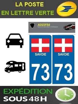 73 Savoie Departement Immatriculation 2 X Autocollants Sticker Autos Badges, Insignes, Mascottes