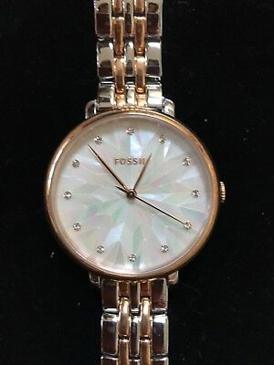 0d9b1fec3f95 Fossil Womens ES4098 Jacqueline Two Tone Stainless Steel Watch White Face