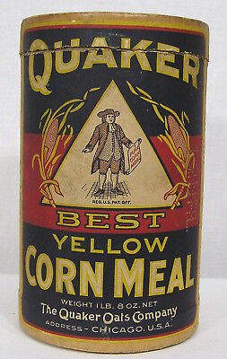 Vintage Advertising Quaker Yellow Corn Meal Paper Container w Great Graphics