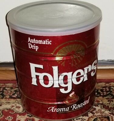 Folgers Aroma Roasted Coffee Can Steel Coffee can 2lb 7oz. Vtg red tin w/ lid