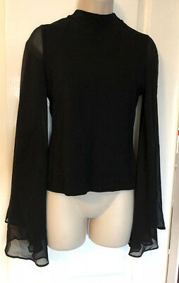 RIVER ISLAND Black sheer sleeves crew neck top, backless - Size 8