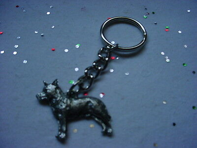 AUSTRALIAN CATTLE DOG Pewter KEYCHAIN CHRISTMAS ORNAMENT Key Ring Heeler puppy