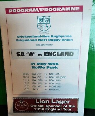 """South Africa """" A """" v England Rugby Programme 1994"""