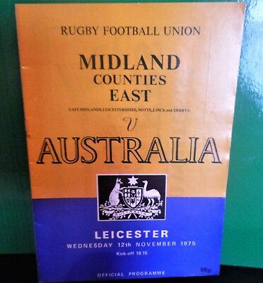 Midland Counties ( east ) v Australia Rugby Programme 1975
