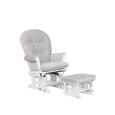 Lennox - Valencia Multiposition lock Glider Chair and Ottoman Combo - White/Grey