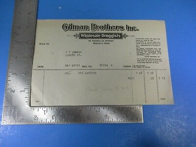 Vintage Gilman Brothers Wholesale Druggists Ludlow Vermont Receipt Invoice S7950