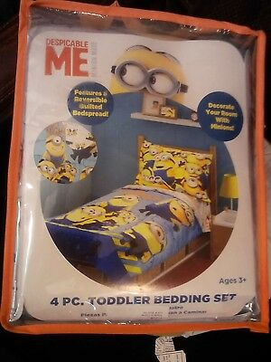 Despicable Me~Minion~4 Piece Toddler Bed Set~New/package~2 Sheets 1 Spread 1Case