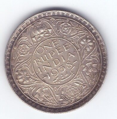 BRITISH INDIA 1938 B King George silver one Rupee coin High grade FREE SHIPPING