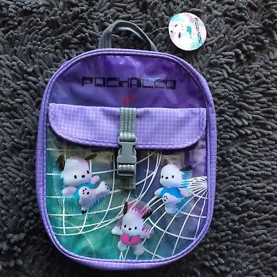 VINTAGE Pochacco Sanrio Plastic Clear Transparent Cyber Dog Bag Mini Backpack