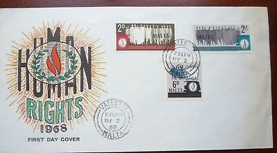 Malta 1st Day Cover + 3 stamps inc. 2/- : Human Rights (1968)