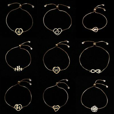 Fashion Womens Jewelry Stainless Steel Heart Love Family Charm Bracelet Gold Hot